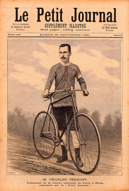 "Charles Terront, winner of the first Paris-Brest-Paris (1891), in the organising paper ""Le Petit Journal""."